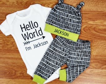 Personalized HELLO WORLD, baby boy, coming home outfit, custom bodysuit, personalized bodysuit, hat, double knot hat, lime green black white
