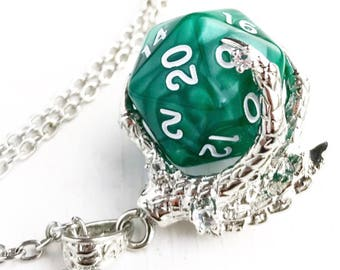 D20 Dungeons and Dragons Inspired D20 Dice Dragon Claw Pendant Necklace Green Polyhedral Gaming Nerd Lover Gift Dungeon Master Gamer Gift