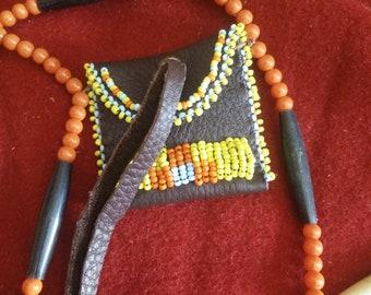 Medicine bag, amulet bag, medicine pouch , amulet pouch, shaman , boho, bohemian necklace, Festival necklace, Festival jewellery, hairpipes
