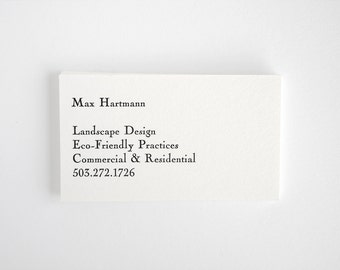 Custom Letterpress Business Cards - Personalized Simple Classic Style - Engraver