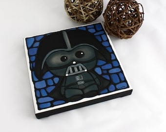 Darth Vader Print on Canvas - Hand Painted Outlines - Baby Boy Nursery Decor - Starwars Wall Art - Geeky Art - Sci-Fi Artwork  - 8 x 8 inch