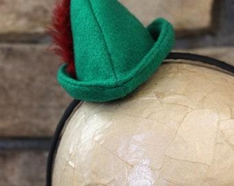Peter Pan Hat, Mini Hat, Headband, Disney Hat, Robbin Hood, Disney Bound, Neverland Birthday,Fun Run