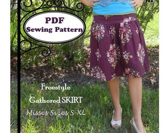Freestyle Gathered Skirt -- PDF Sewing Pattern  -- Ladies S-XL