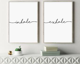 Inhale Exhale, Fitness Poster, Breathe Print, Pilates, Yoga, Meditation, Relaxation, Inspirational Art, Modern, Minimalist, Typography Art