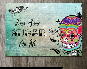 Sugar Skull Dessert Table Sign Wedding Table Sign DIY Printable Calaveras Art 10x7 Day of the Dead INSTANT DOWNLOAD