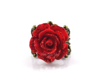 Beauty and the Beast Rose Ring - Enchanted Red Rose Ring - Vintage Filigree Valentine Ring in Bronze or Silver - Fairy Tale Jewelry