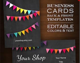 Custom Business Card Design Set- 2-Sided Rainbow Chalkboard DIY Template Business Card Set - Whimsical chalkboard bunting business card