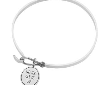 """High Polished Stainless Steel """"Never Give Up On Your Dreams"""" Inspirational Bracelet"""