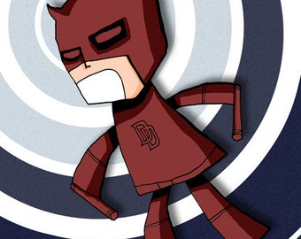 Daredevil Super Hero Comic Book Illustration Print Art