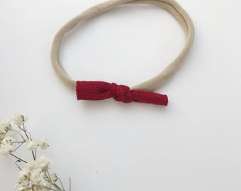 Mini bow on headband - baby girl and child - jersey - Burgundy