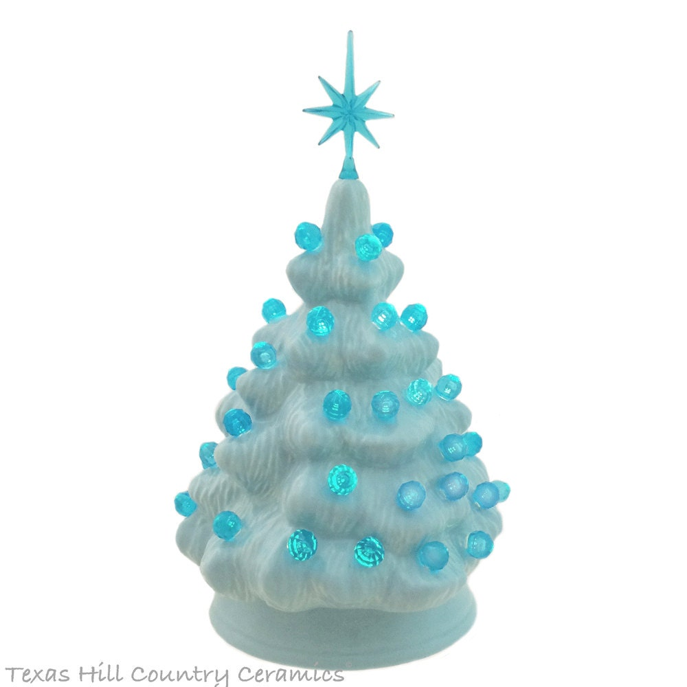 Small Light Blue Ceramic Christmas Tree with Aqua Color Lights