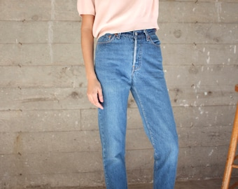 Levis High Rise Tapered Jeans // US 5, 25 x 29 // Button Fly Dark Wash
