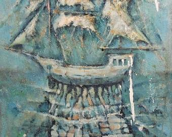 Vintage oil painting abstract battleship