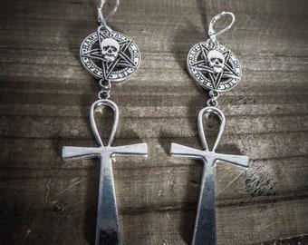 Silver 666 Malice 666 Ankh earrings