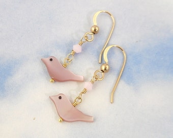 Pink bird & rose water opal crystal earrings - mother of pearl, 14k gold-filled, Swarovski crystal elements - free shipping USA