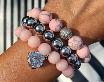 The Monaco Pink beaded bracelet Set/ blush never looked so good! the perfect everyday jewelry set