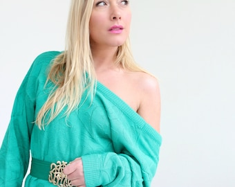 1980s Jade Sweater Dress /// Size Small to Large