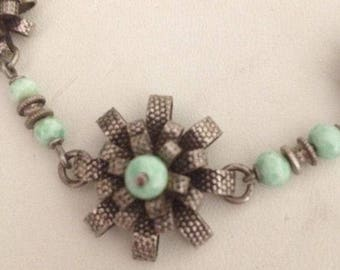 Art Deco Turquoise Silver Flower Necklace 1930's