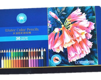 WATERCOLOR PENCILS - 36 PENCILs  in a Great Storage Tin by Zehang Stationery -