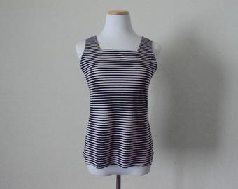 RESERVED for Corina vintage women's 1970's striped blouse/ tank top/nautical/ polyester knit/ sleeveless top/ retro groovy hipster Size 14