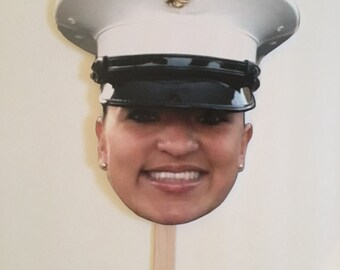 Boot Camp Graduation - Photo Prop - Big Head Photo - Military Graduation - Marine Corps - Army - Navy - Fun Photo - Picture on Stick