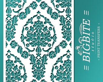 Shabby Chic STENCIL: Damask Wallpaper Pattern 03 (Furniture Print Transfer) #056