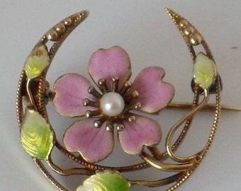 14K Enamel Krementz Art Nouveau Flower Brooch