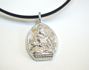 pendant Buddha silver with asian design in sterling silver 925 with leather stripe