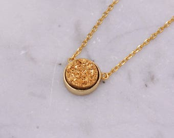 Sterling Silver with 18ct Gold Plating, Genuine Druzy Quartz Crystal Semi-Precious Gemstone Coin Round Circle Pendant Necklace H108
