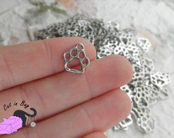 10 Charms with dog or cat paw - 13x11 mm - antique silver tone - SP6-200