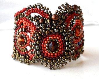 Beaded bracelet  Freeform, freestyle Cuff Bracelet, unique gift, brown, terracotta, iris bronze, ooak jewelry