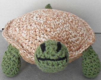 Crocheted Turtle Toy with Tan & Cream Shell - Amigurumi Turtle - Turtle Stuffed Animal - Plushie Turtle Toy - Plush Turtle Toy - Toy Turtle