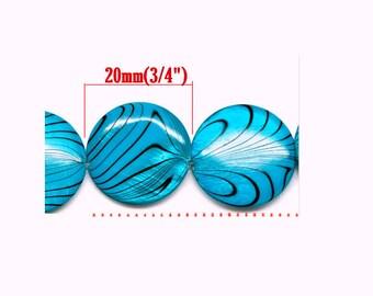 Set of 4 blue turquoise beads dark shell 20 mm diameter, hole 1 mm