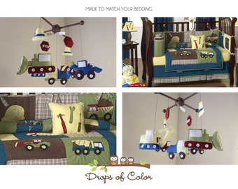 "Baby Crib Mobile - Baby Boy Mobile - Construction Trucks Mobile - Nursery Decor Boy Mobile - ""Construction Theme"" (You can pick your colors)"