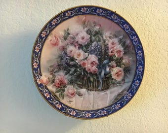 W.S. George, Plate, Collectible, Decorative Floral Plate, Roses, Lena Liu Basket Bouquets, First Issue, Signed