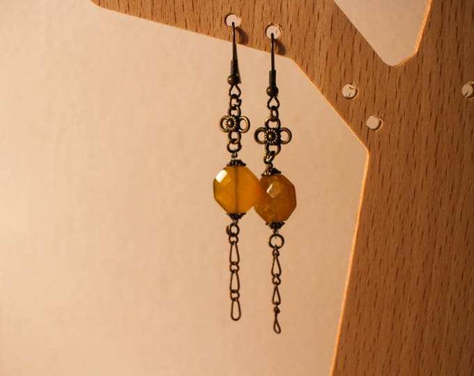 Dangling earrings, Pearl octagonal yellow agate, clasp and findings brass flower, gift for her,