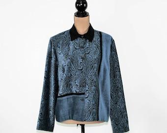 Blue Chenille Jacket Women Large Petite Hippie Bohemian Paisley Print Jacket Casual Jacket Size 14 Jacket Cold Water Creek Womens Clothing