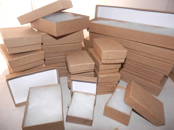 Lot of 100 Assorted Size Kraft Cotton filled Jewelry Boxes from