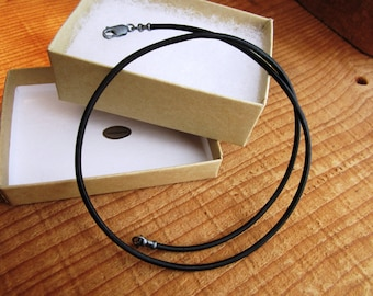 Leather Cord Necklace - Antiqued Pure Sterling Silver - mens/womens - 1.5mm natural black