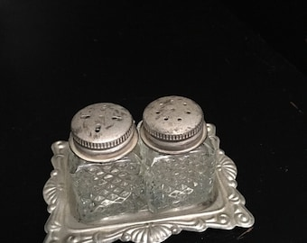 Glass Salt & Pepper Mini Shakers on Silverplate Tray Silver Plate Miniature Vintage Set ~ #A1298