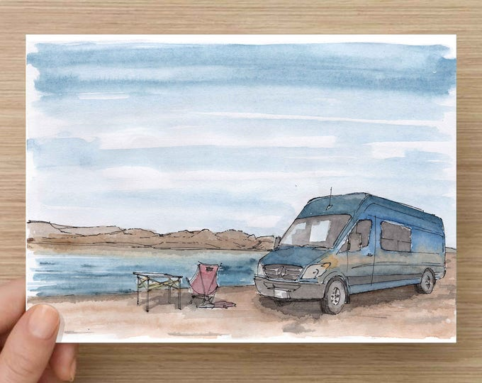 Ink and Watercolor Drawing of Sprinter Camper Van by Lake - Landscape, Mountains,, Water, Vanlife, Sketch, Art, Pen and Ink, 5x7, 8x10