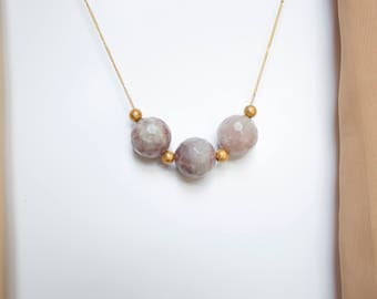 Strawberry Quartz and Gold Beads Necklace