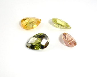 CZ beads, Cubic Zirconia Beads, Faceted Pear, 7x10mm, 4 pieces, Hole 0.8mm, A Grade (PS0710C)