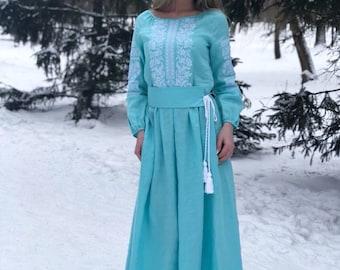 Custom vyshyvanka style ukrainian dress embroidery clothing dresses