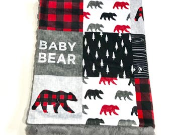 Baby Bear Buffalo Plaid Woodland Baby Boy Blanket, Grey and Red Bear Baby Bedding, Baby Boy MINKY Blanket, Ready to Ship Baby Blanket Gift