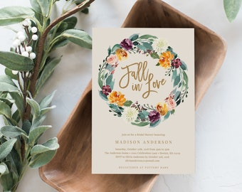 Editable Template - Instant Download Fall in Love Bridal Shower Invitation, Wedding, Engagement