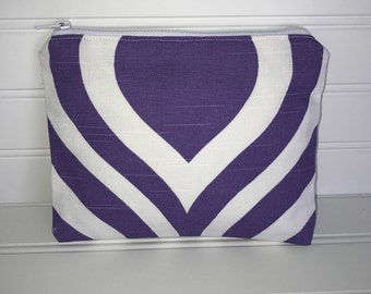Purple & White Bold Geometric Pouch | Handmade Zipper Pouch