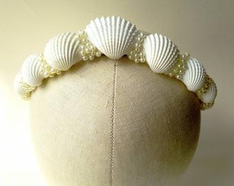 Mermaid Tiara Crown with sea shells & pearl beads  ~ LARP ~ Beach Wedding ~  Fairytale Queen Princess Sea Nymph Sprite Neptune Bridal