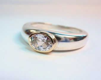 Simple Oval White Topaz Solitaire Ring
