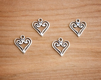 STERLING SILVER - Celtic Spiral Heart Charms - Jewelry Component